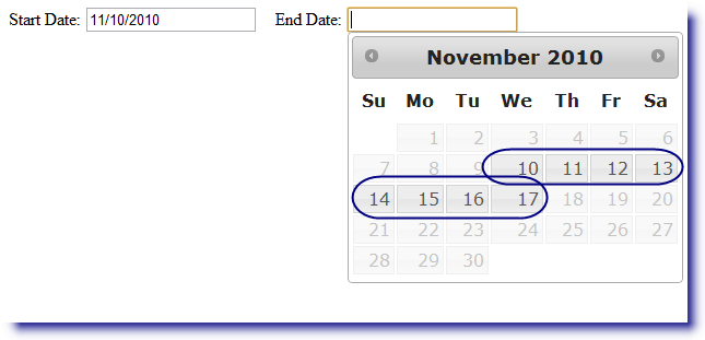 jQuery Datepicker: Set date range of start date and end date