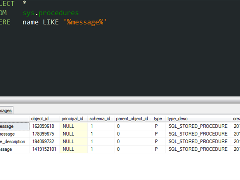 SQL: Search stored procedures by names