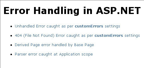 How to handle exceptions in ASP.NET