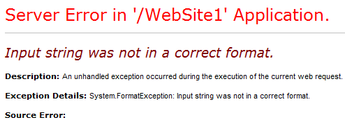 Input string was not in a correct format in .net