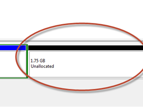 Windows 7: Add unallocated space to existing partition