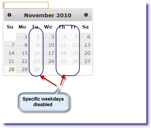 jQuery Datepicker: Disable specific weekdays