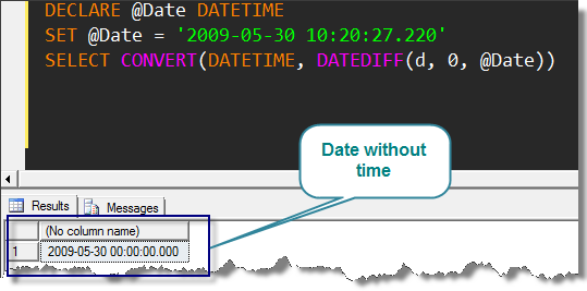 SQL: Get Datetime Without Time