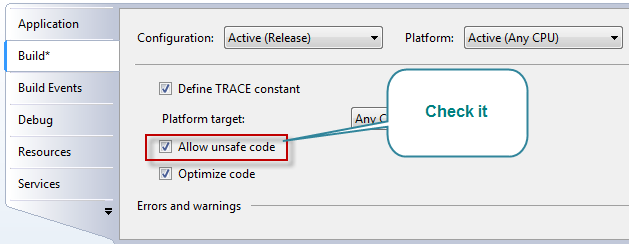 Unsafe code may only appear if compiling with /unsafe