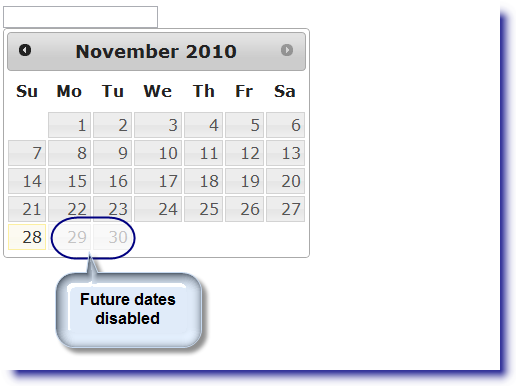 jQuery Datepicker: Disable future dates