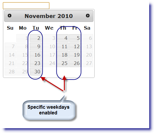 jQuery Datepicker: Enable specific weekdays