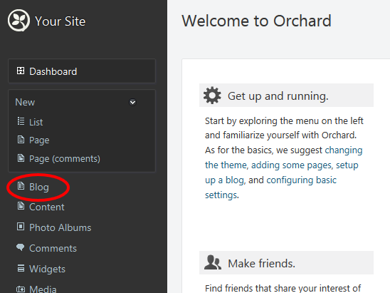 Create blog on your site with Orchard CMS