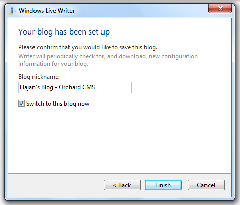 Blogging using Windows Live Writer in your Orchard CMS Blog