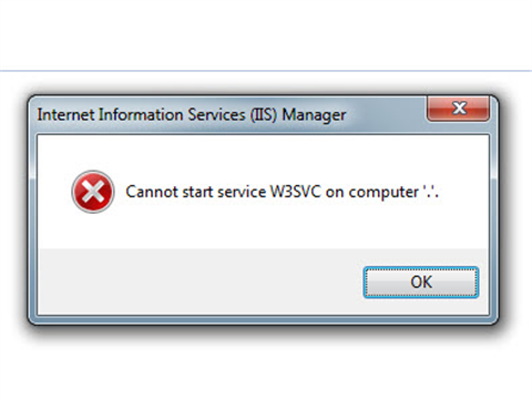 IIS: Cannot start service W3SVC on computer '.'