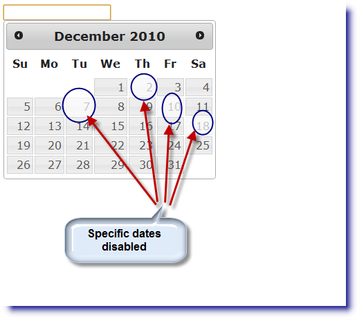 jQuery Datepicker: Disable specific dates