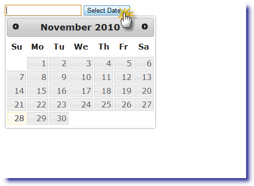 jQuery Datepicker: Display on button click