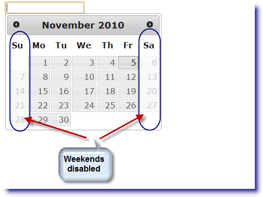 jQuery Datepicker: Disable all weekends