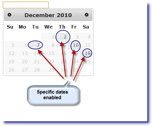 jQuery Datepicker: Enable specific dates