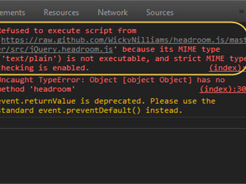 Using JavaScript file hosted on github: Refused to execute script from 'xxx' because its MIME type ('text/plain') is not executable, and strict MIME type checking is enabled.