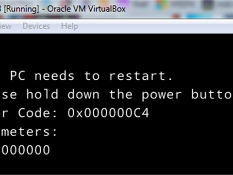 Virtual Box- Windows 8.1- Your PC need to restart, Please hold down the power button Error Code : 0x