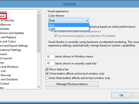 How to switch themes in Visual Studio