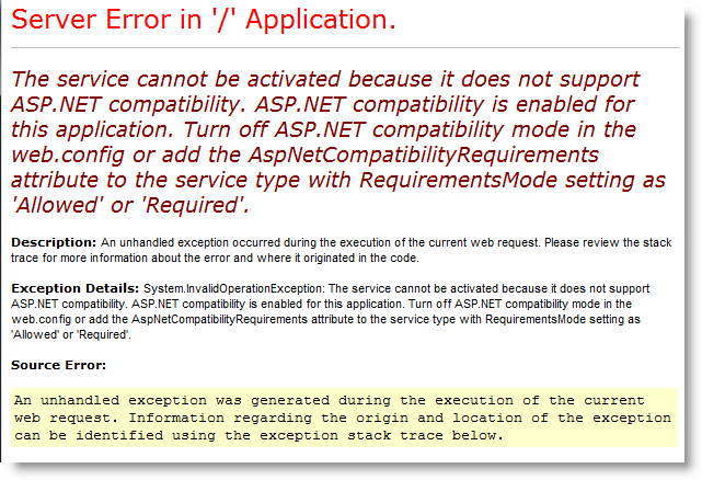 WCF: The service cannot be activated because it does not support ASP
